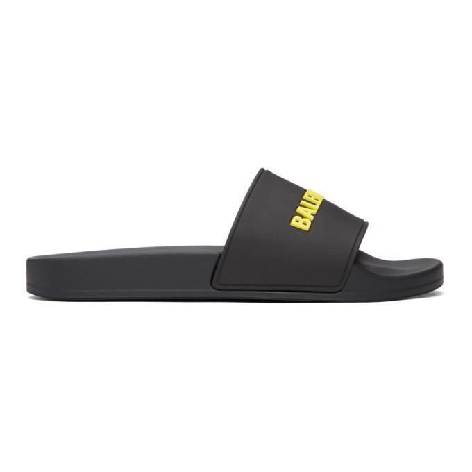 Photo: Balenciaga Black and Yellow Logo Pool Slides