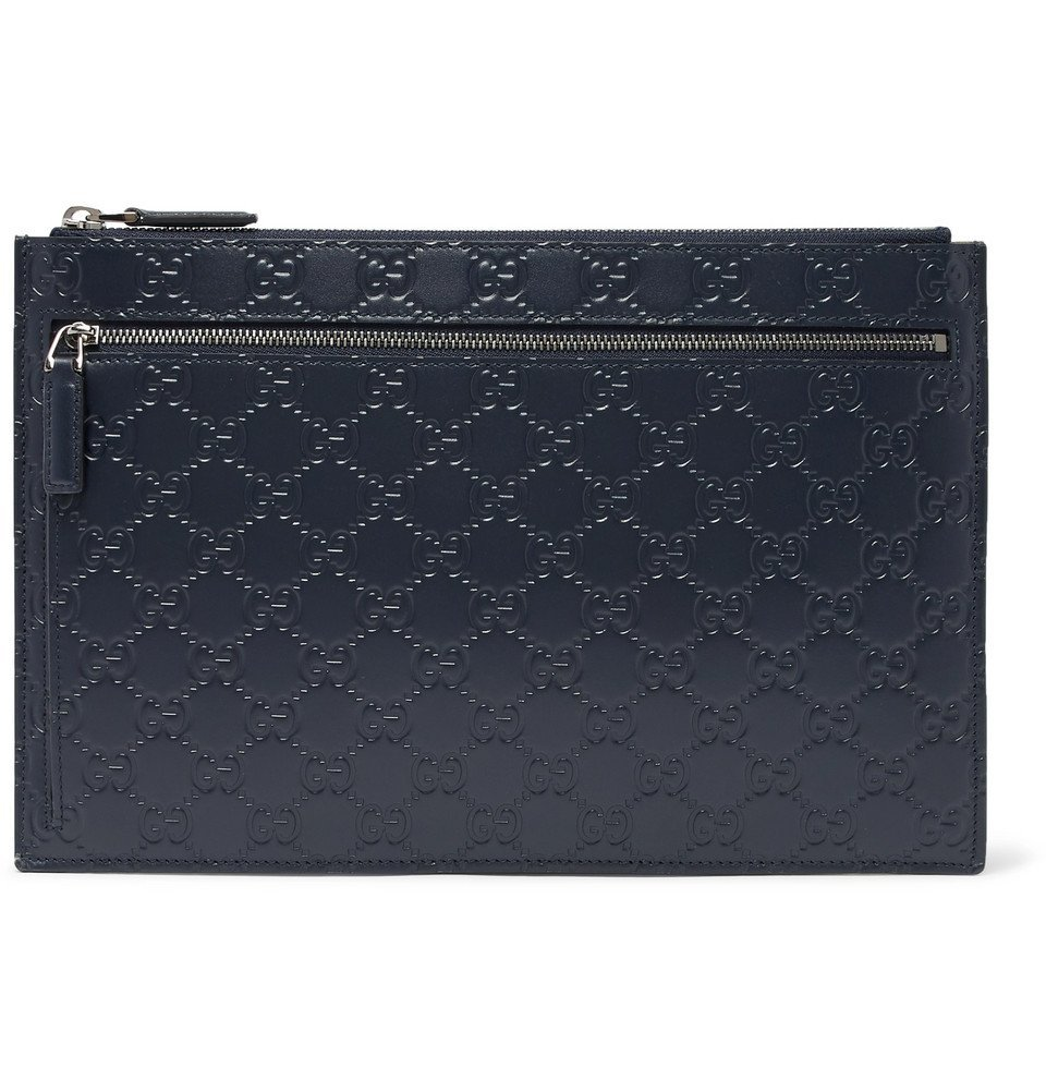 Photo: Gucci - Avel Logo-Embossed Leather Pouch - Navy