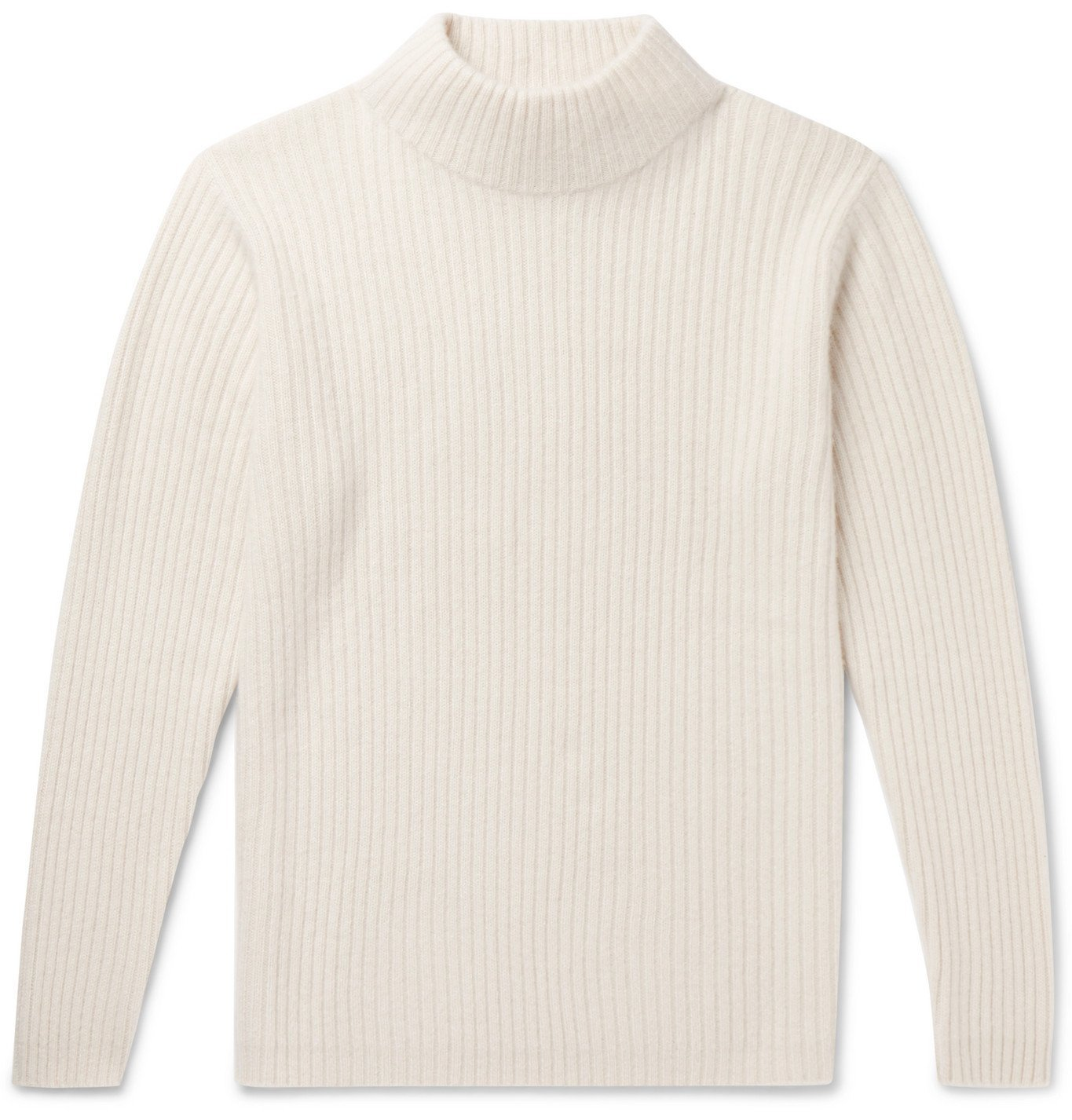 Photo: The Elder Statesman - Ribbed Cashmere Mock-Neck Sweater - Neutrals