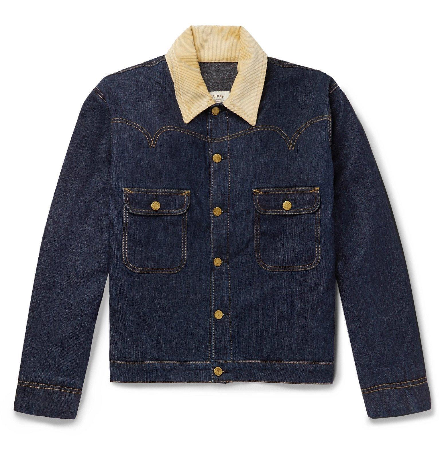 Photo: Holiday Boileau - Corduroy-Trimmed Denim Jacket - Blue