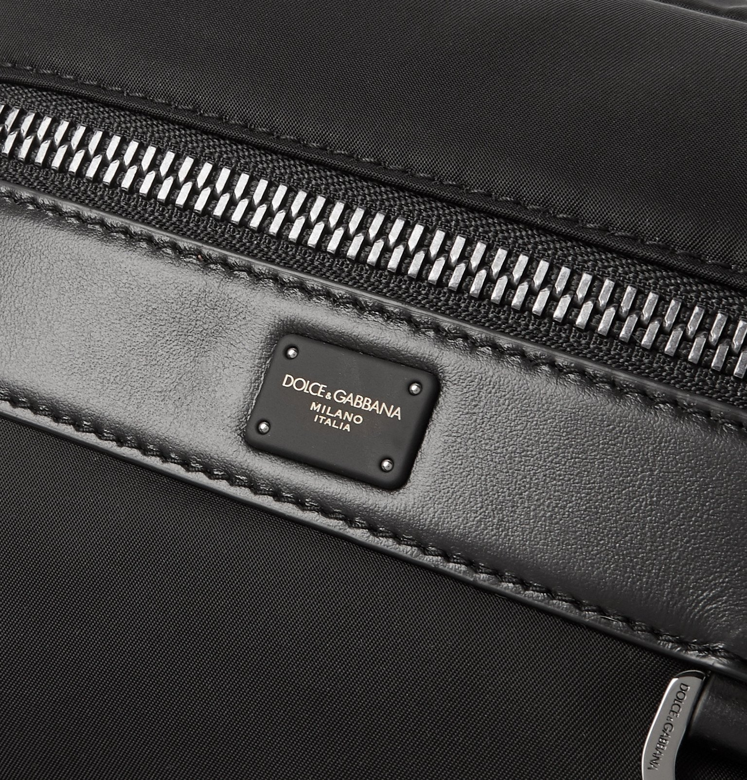 Dolce & Gabbana - Convertible Logo-Detailed Leather-Trimmed Nylon Bag - Black