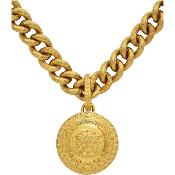 Versace Gold Laurel Medusa Pendant Necklace