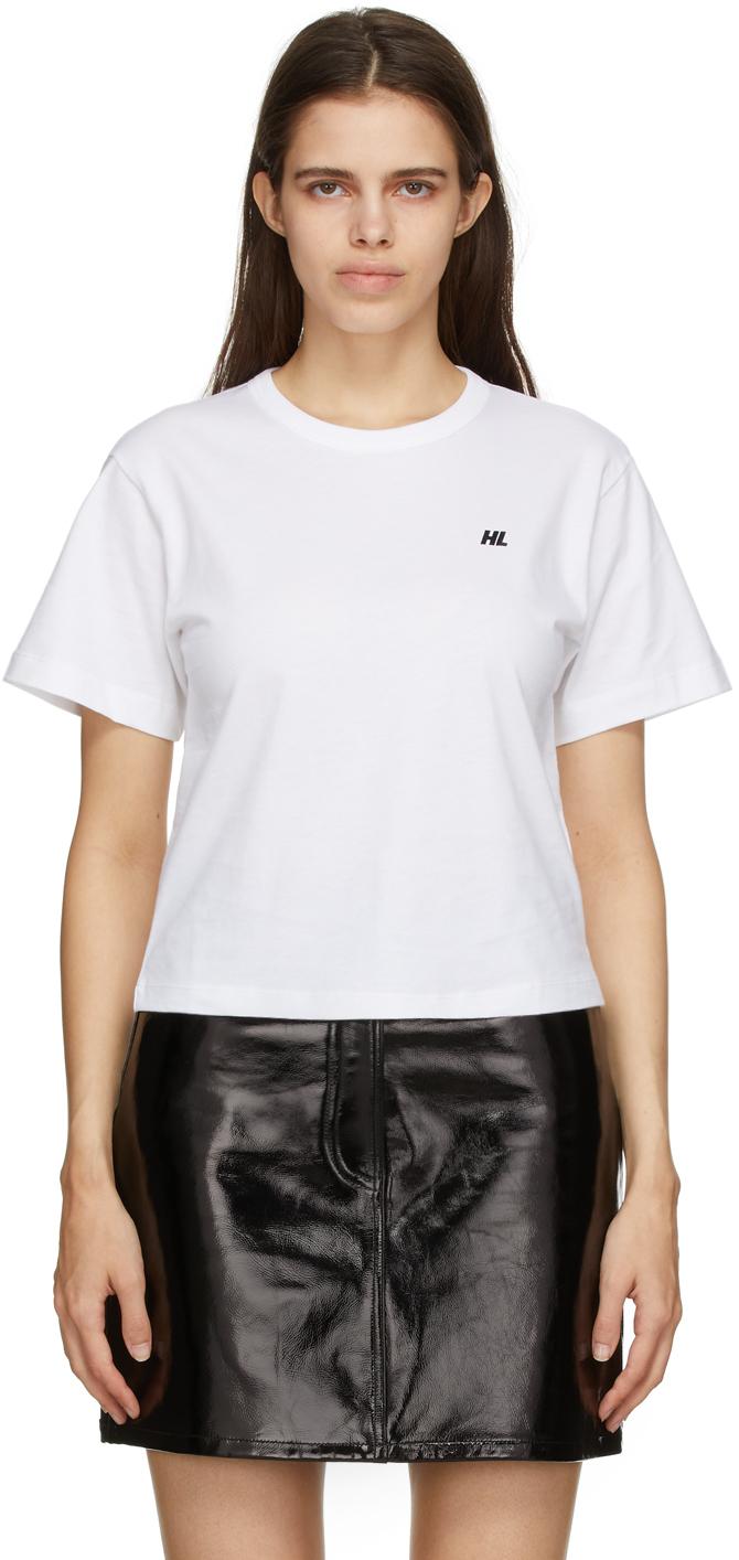 Photo: Helmut Lang White Logo Cropped T-Shirt