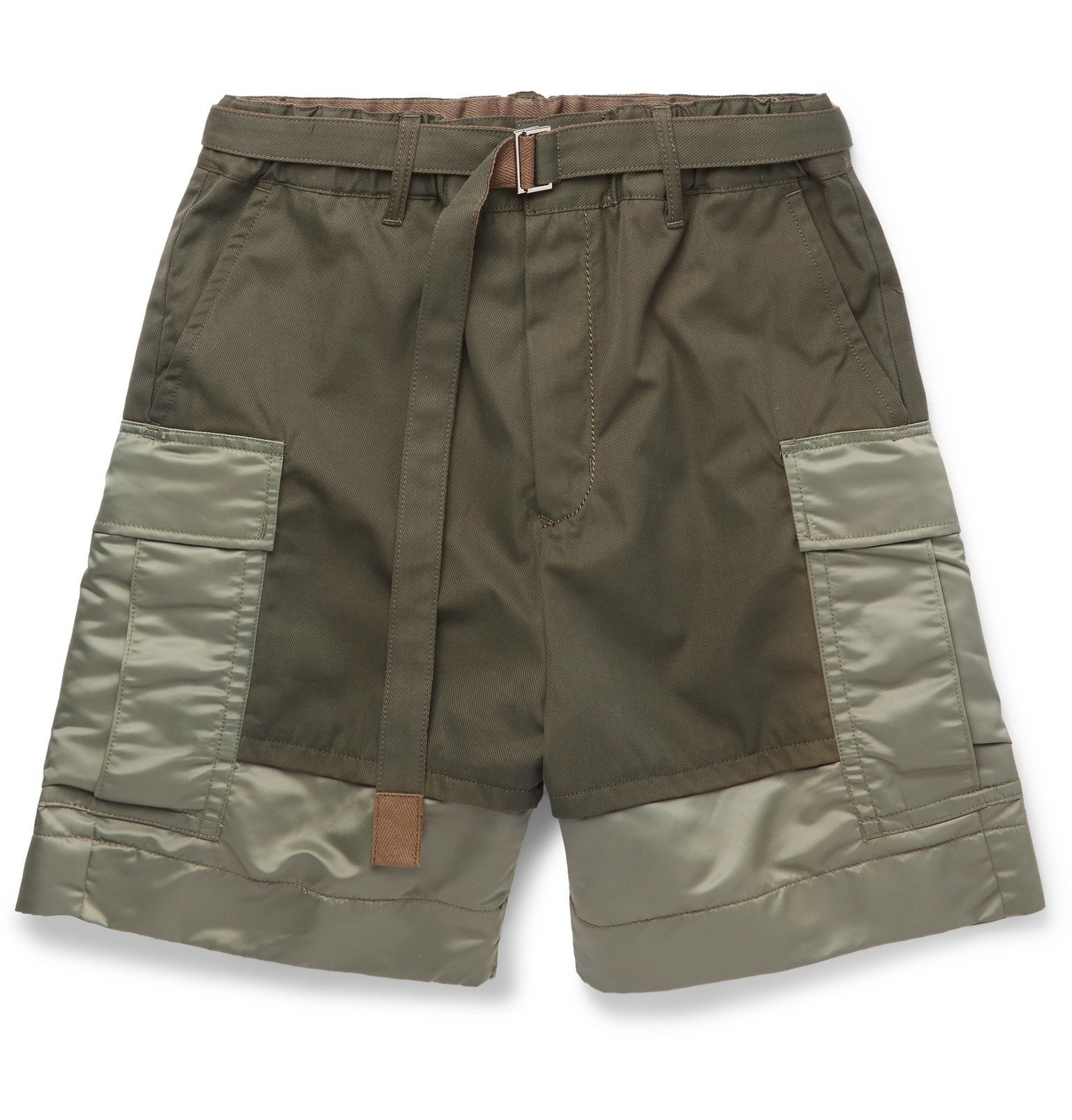 Sacai - Wide-Leg Shell-Panelled Cotton-Twill Cargo Shorts - Green