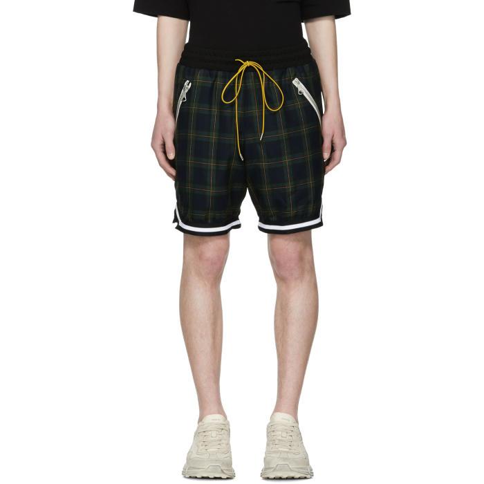 Photo: Rhude Navy Plaid Basketball Shorts