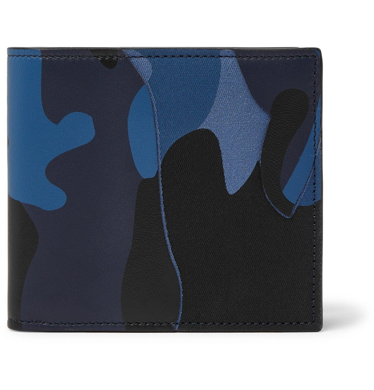 Photo: Valentino - Valentino Garavani Camouflage-Print Canvas and Leather Billfold Wallet - Blue