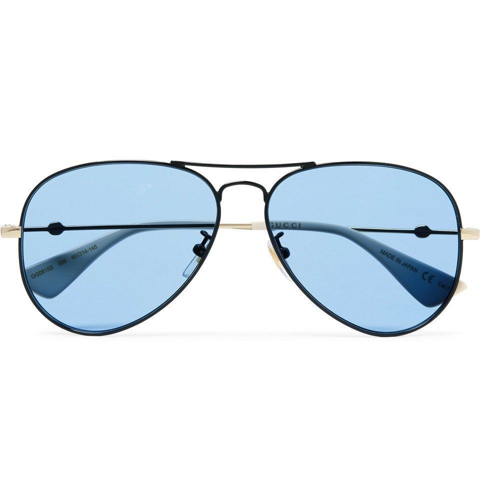 Photo: Gucci - Aviator-Style Black and Gold-Tone Sunglasses - Blue