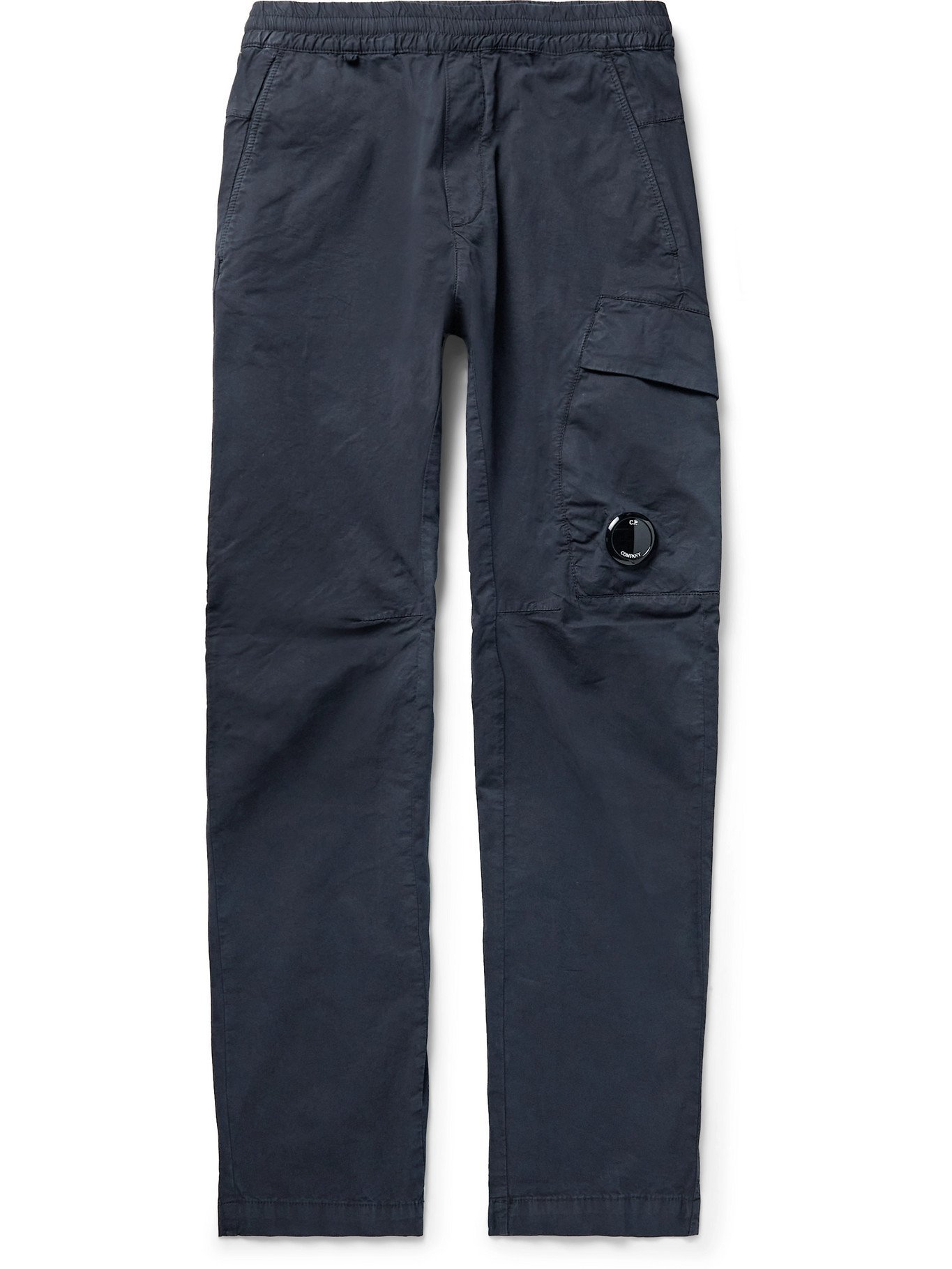 Photo: C.P. COMPANY - Garment-Dyed Logo-Appliquéd Stretch-Cotton Cargo Trousers - Blue - IT 46