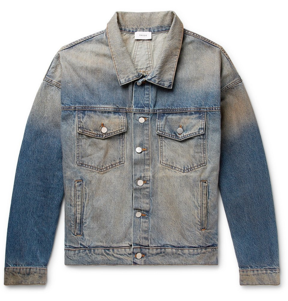 Photo: Rhude - Oversized Suede Elbow-Patch Distressed Denim Jacket - Blue