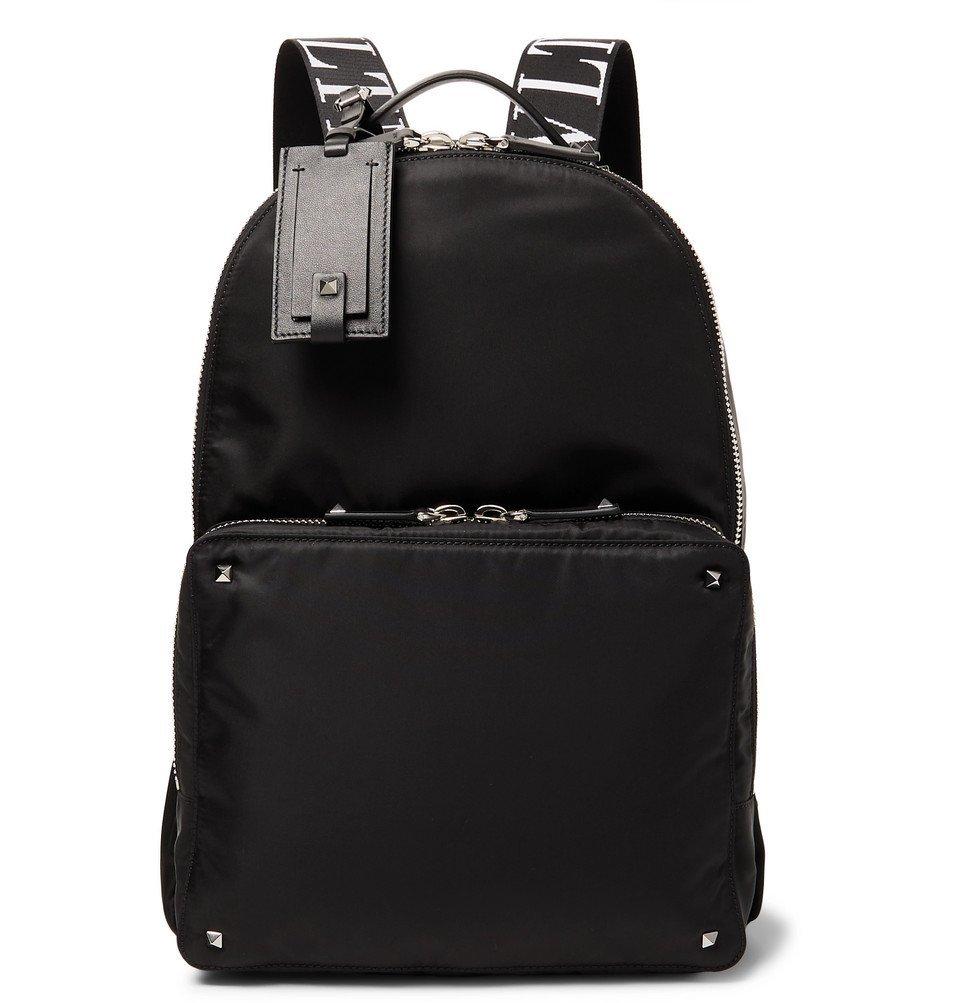 Photo: Valentino - Valentino Garavani Leather-Trimmed Nylon Backpack - Black