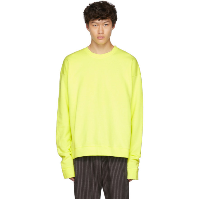 Photo: The Elder Statesman Yellow Dip Dyed Fleece Sweatshirt