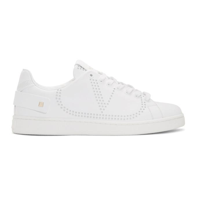 Photo: Valentino White Valentino Garavani V Rockstud Strap Sneakers