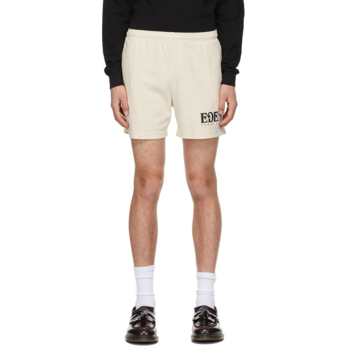 EDEN power corp Beige Recycled Cotton Logo Lounge Shorts