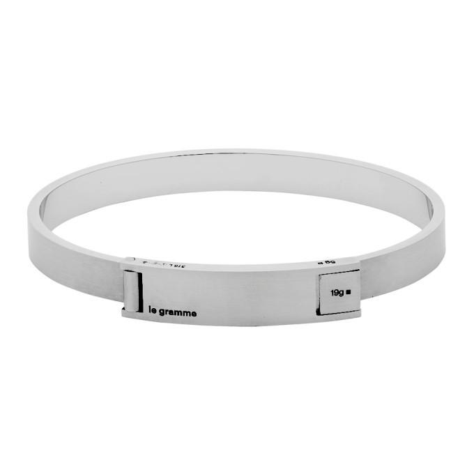 Photo: Le Gramme Silver Slick Brushed Assemblage Le 21 Grammes Ribbon Bracelet