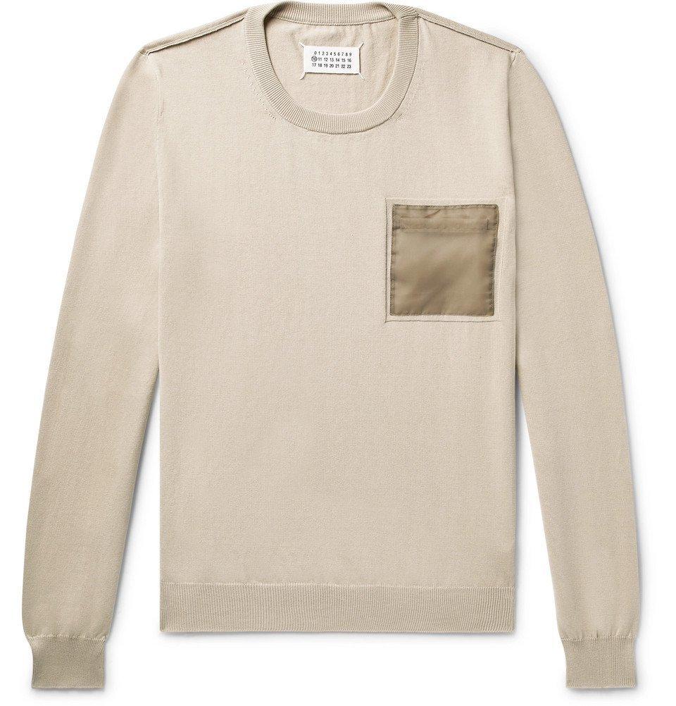 Photo: Maison Margiela - Shell-Trimmed Cotton Sweater - Beige