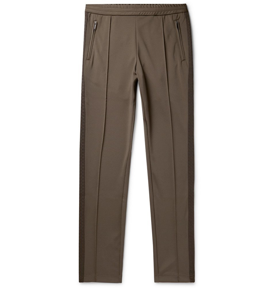 Photo: Bottega Veneta - Slim-Fit Jacquard-Trimmed Tech-Jersey Sweatpants - Men - Army green