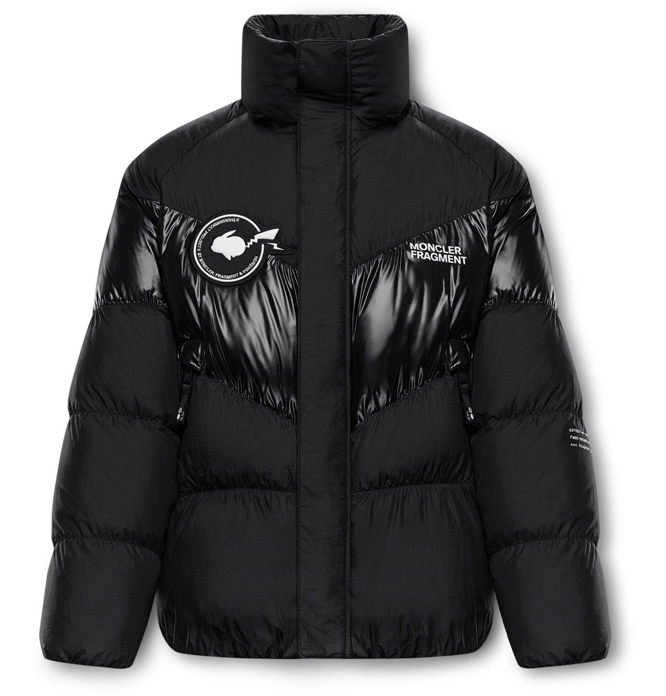 Photo: Moncler Genius - 7 Moncler Fragment POKÉMON Blain Logo-Appliquéd Printed Nylon Down Jacket - Black