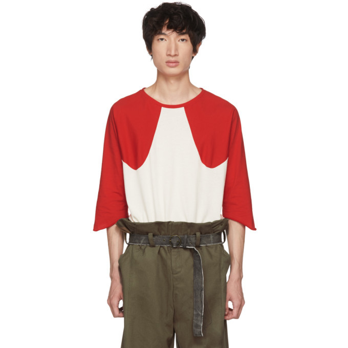 Photo: St-Henri SSENSE Exclusive Red and Off-White Softball T-Shirt