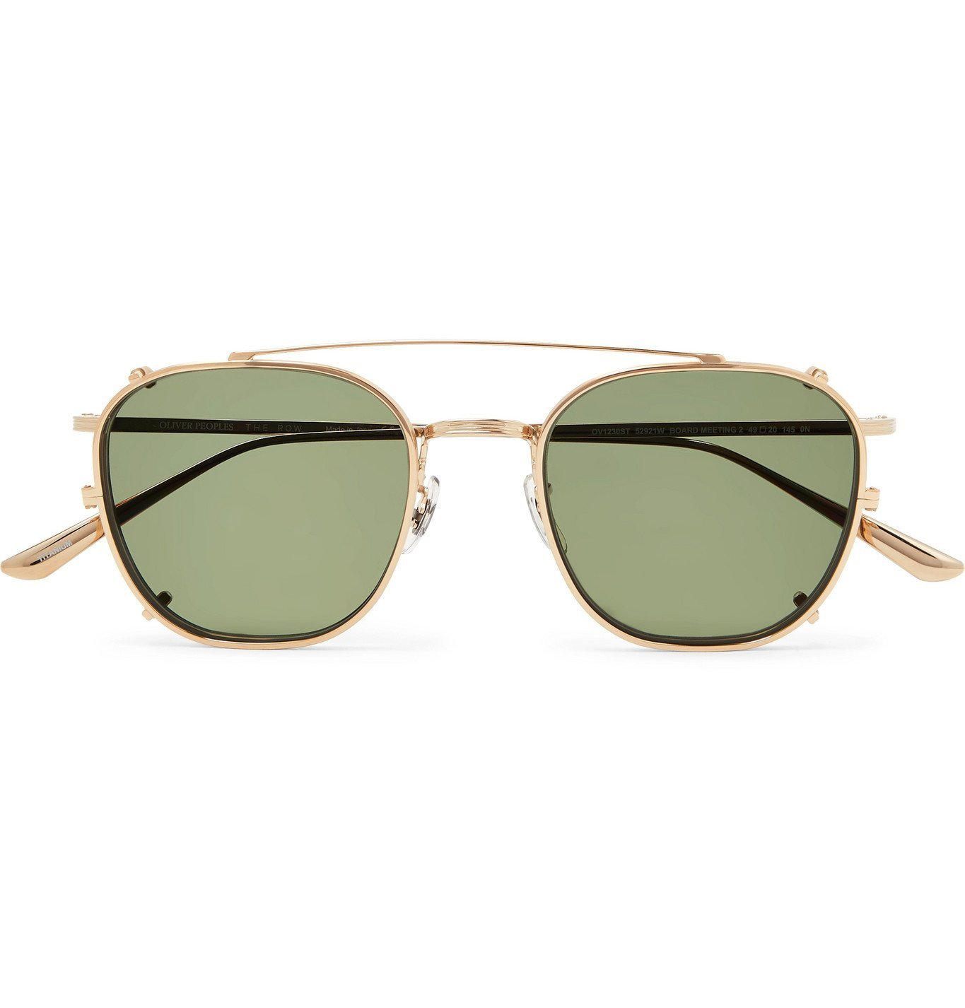 Photo: The Row - Oliver Peoples Board Meeting 2 Aviator-Style Gold-Tone Optical Glasses with Clip-On UV Lenses - Gold
