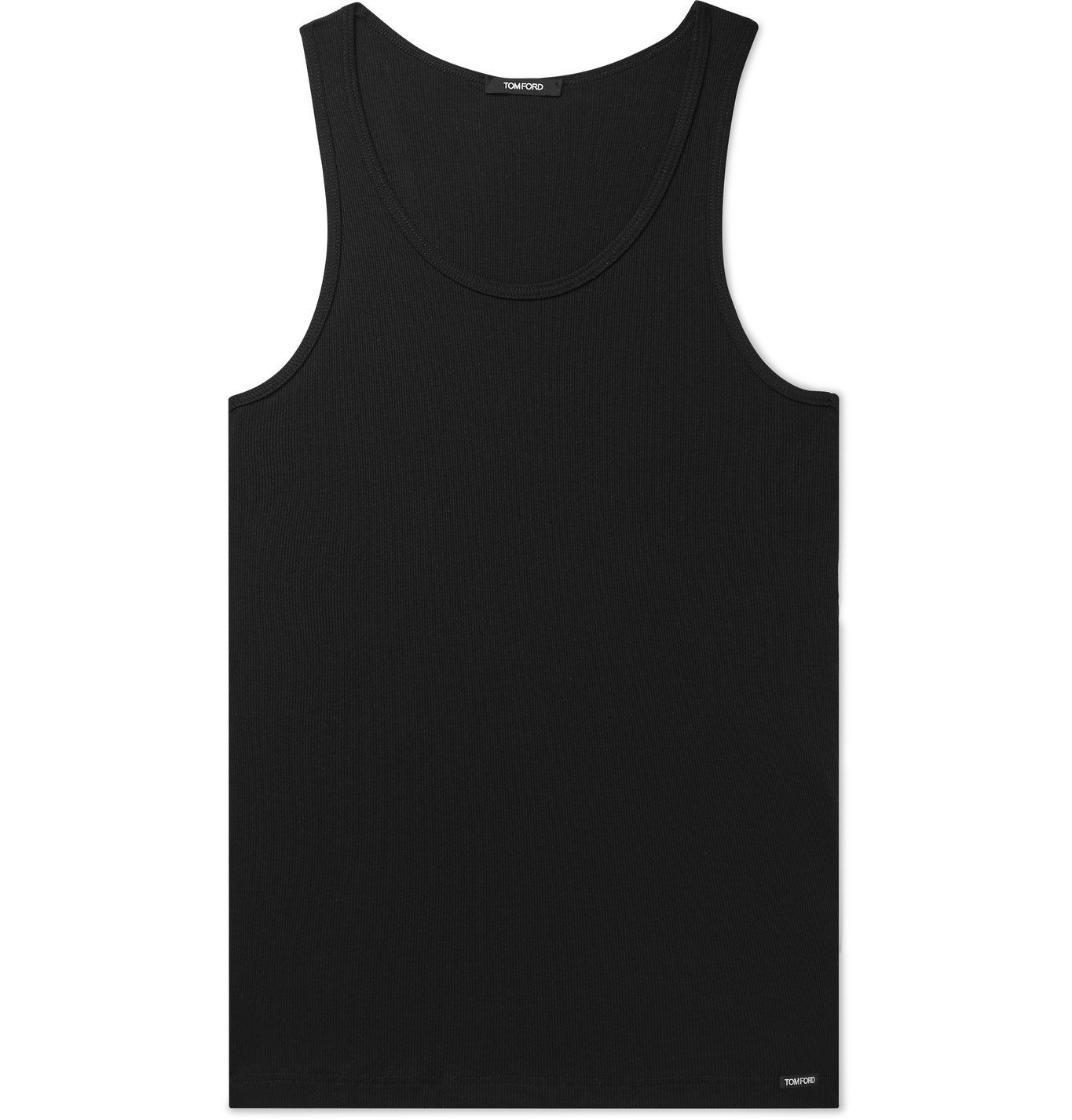 Photo: TOM FORD - Ribbed Mélange Cotton and Modal-Blend Tank Top - Black