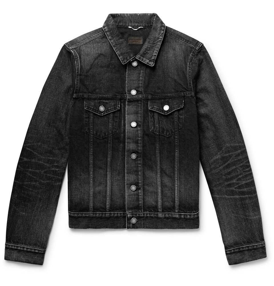 Photo: SAINT LAURENT - Slim-Fit Distressed Denim Jacket - Black