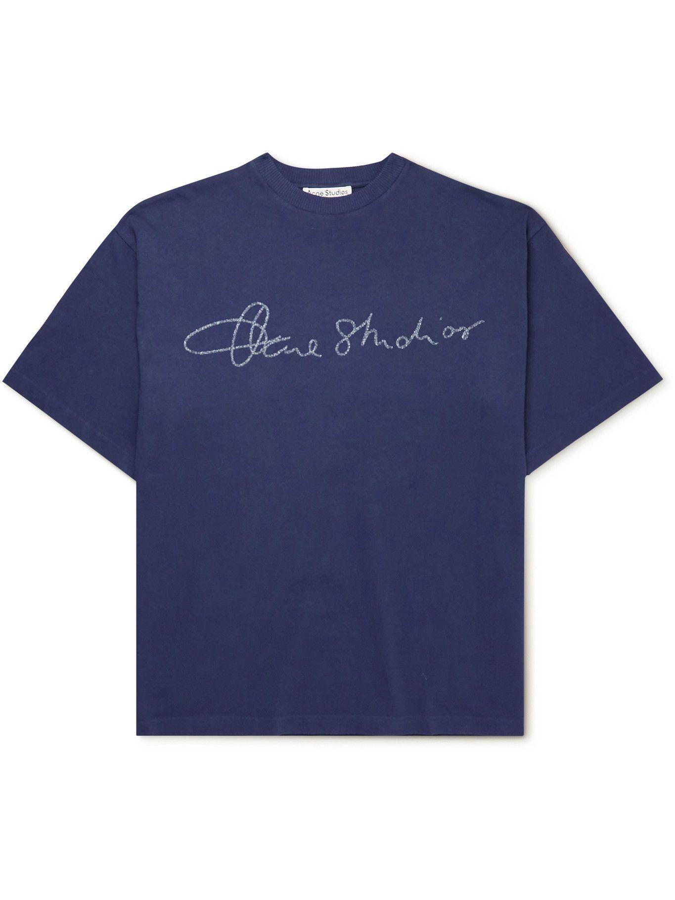 Photo: Acne Studios - Oversized Logo-Embroidered Organic Cotton-Jersey T-Shirt - Blue