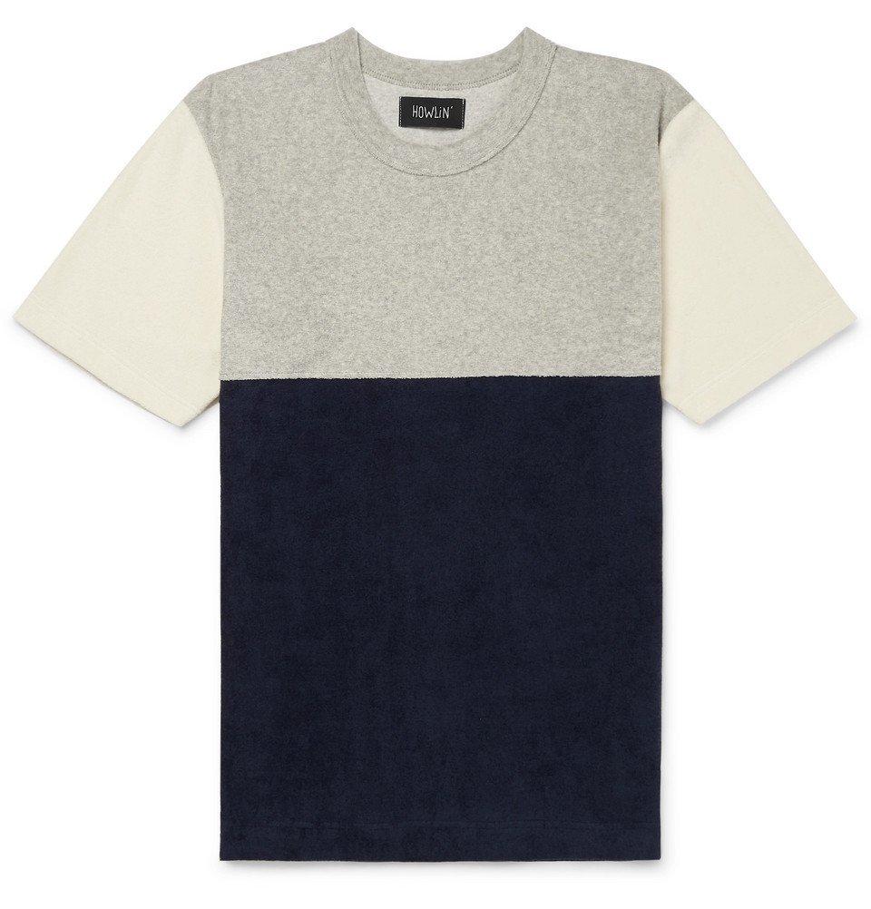 Photo: Howlin' - Colour-Block Cotton-Blend Terry T-Shirt - Ecru