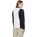 Giorgio Armani Navy and White Intarsia Logo Long Sleeve Polo