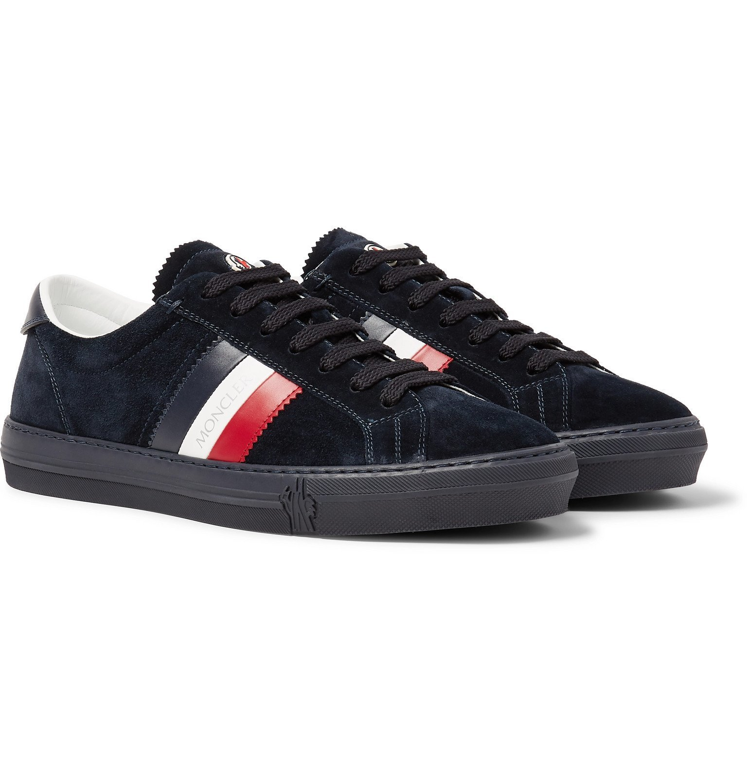 Photo: Moncler - New Monaco Leather and Suede Sneakers - Blue