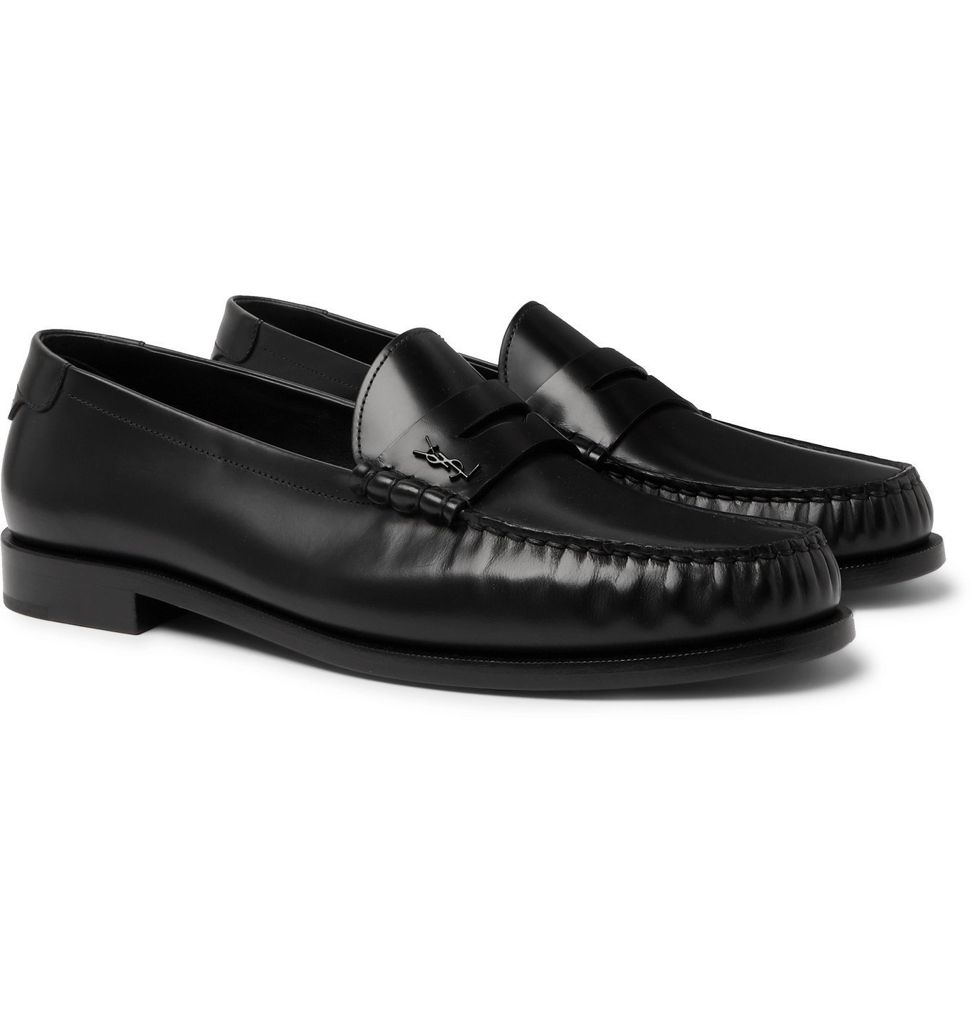 Photo: SAINT LAURENT - Leather Loafers - Black