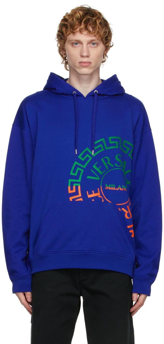 Photo: Versace Blue Greca Logo Hoodie