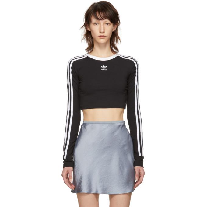 adidas Originals Black Cropped Long Sleeve T-Shirt
