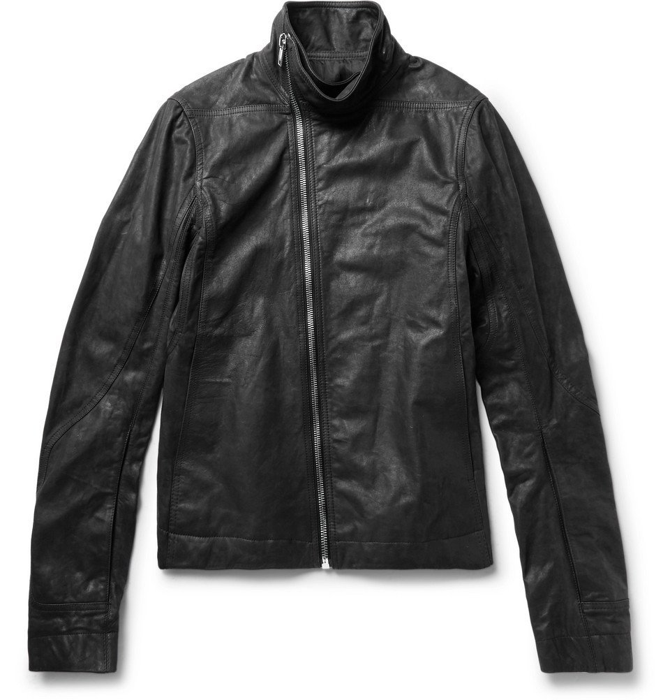 Photo: Rick Owens - Mollino Slim-Fit Matte-Leather Biker Jacket - Black
