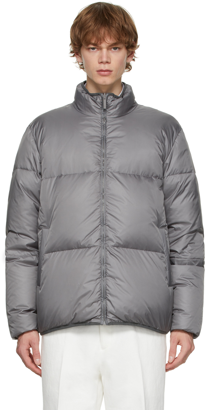 Photo: Thom Browne Reversible Grey Funnel Neck Down Jacket