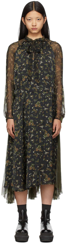 Sacai Multicolor Floral Print Dress