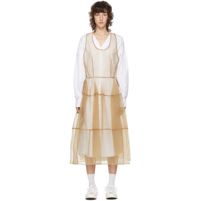 Photo: Pushbutton SSENSE Exclusive White and Beige Sheer Organza Dress