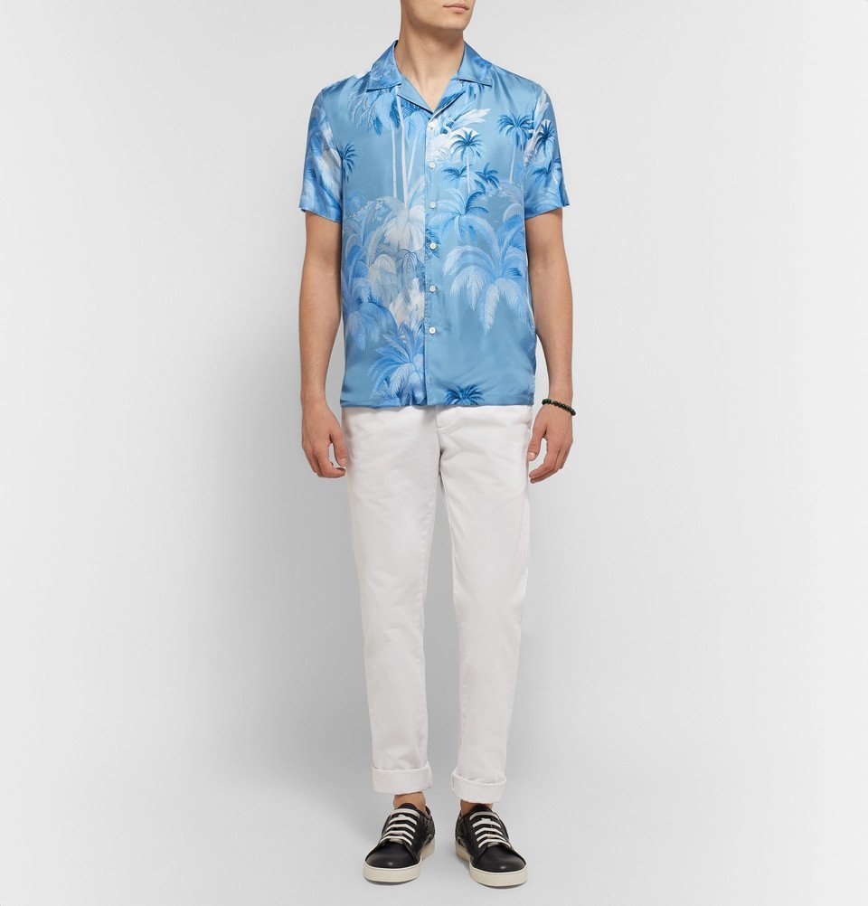 Tod's - Camp-Collar Printed Silk-Twill Shirt - Men - Blue