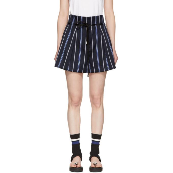 3.1 Phillip Lim Blue Striped Jacquard Shorts