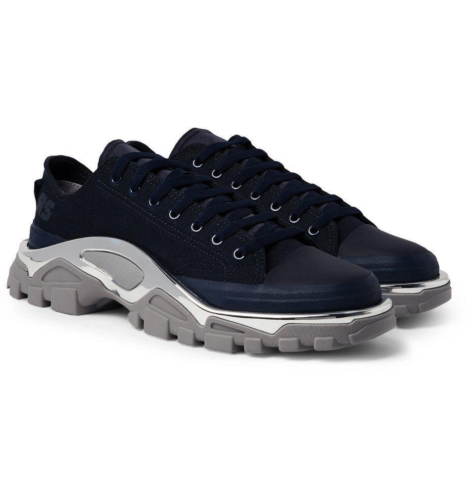 Raf Simons - adidas Originals Detroit Runner Rubber-Trimmed Canvas Sneakers - Men - Midnight blue