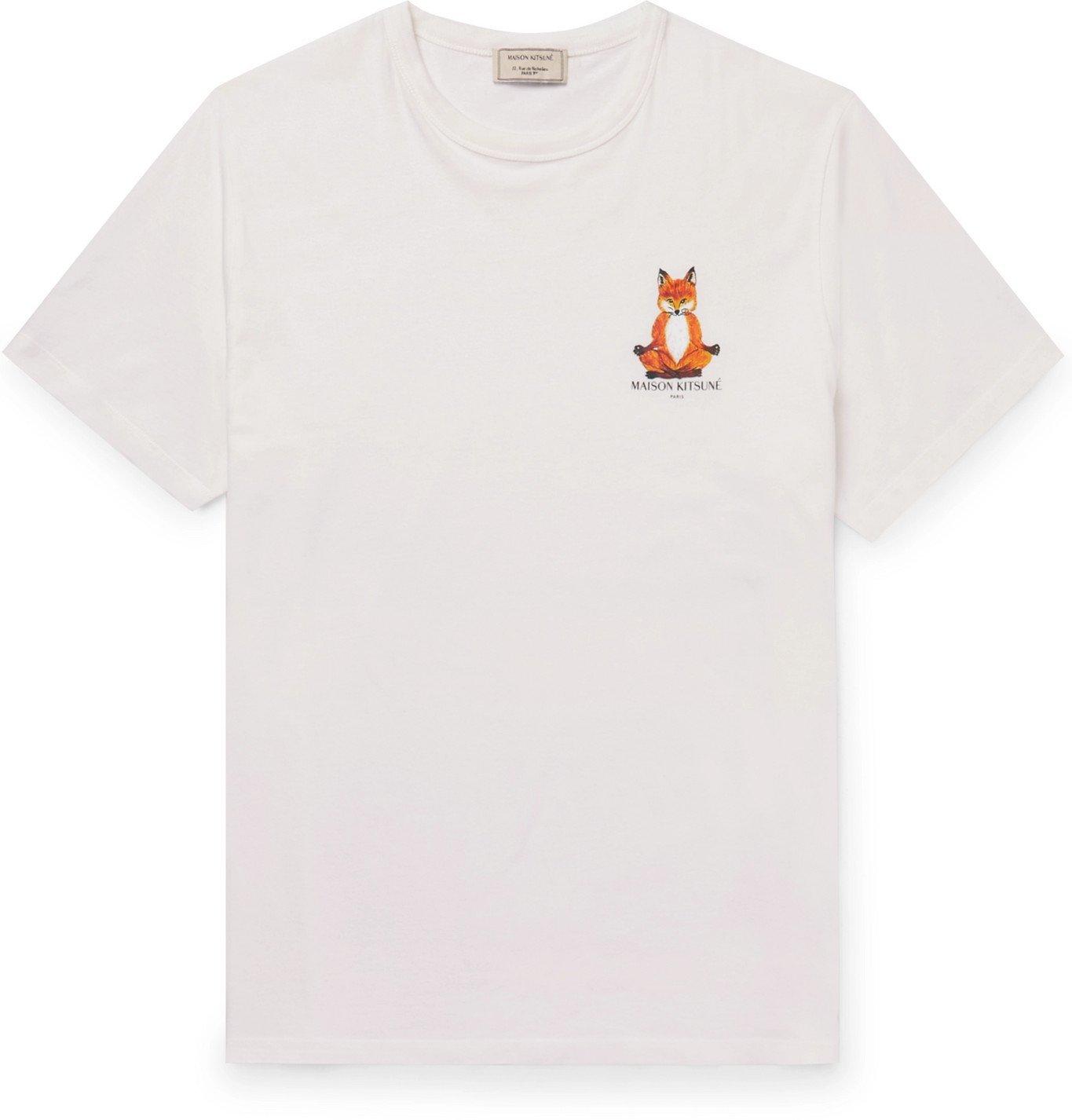 Photo: Maison Kitsuné - Slim-Fit Logo-Print Cotton-Jersey T-Shirt - Neutrals