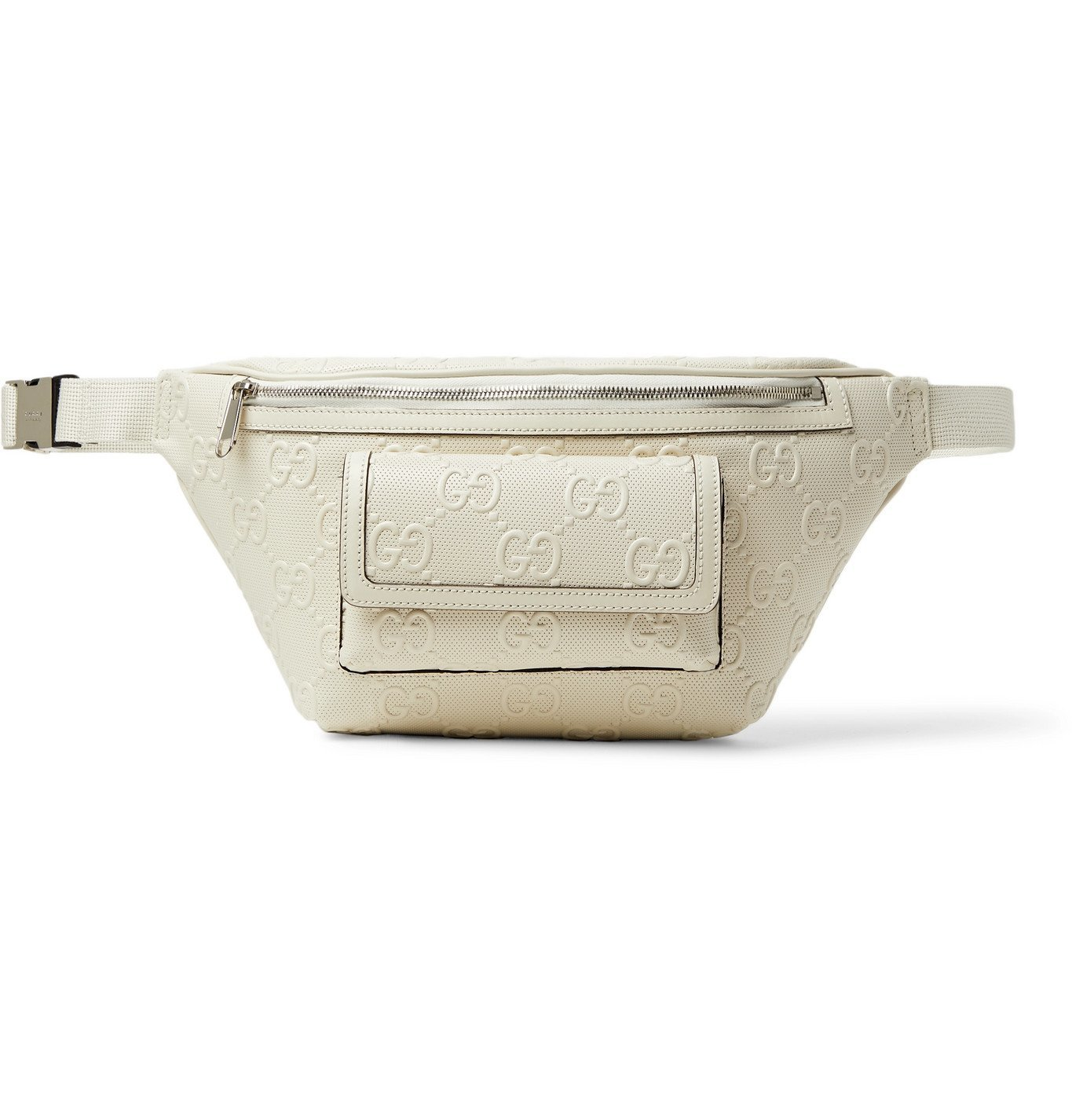 Photo: GUCCI - Logo-Embossed Perforated Leather Belt Bag - Neutrals