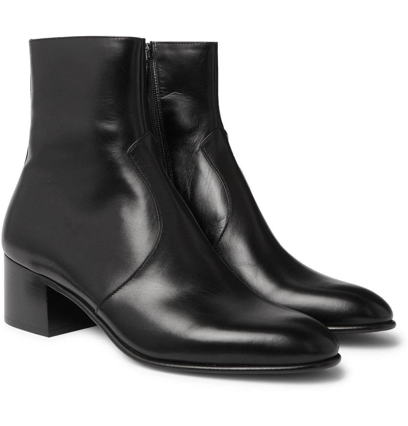 Photo: SAINT LAURENT - Wyatt 60 Leather Chelsea Boots - Black