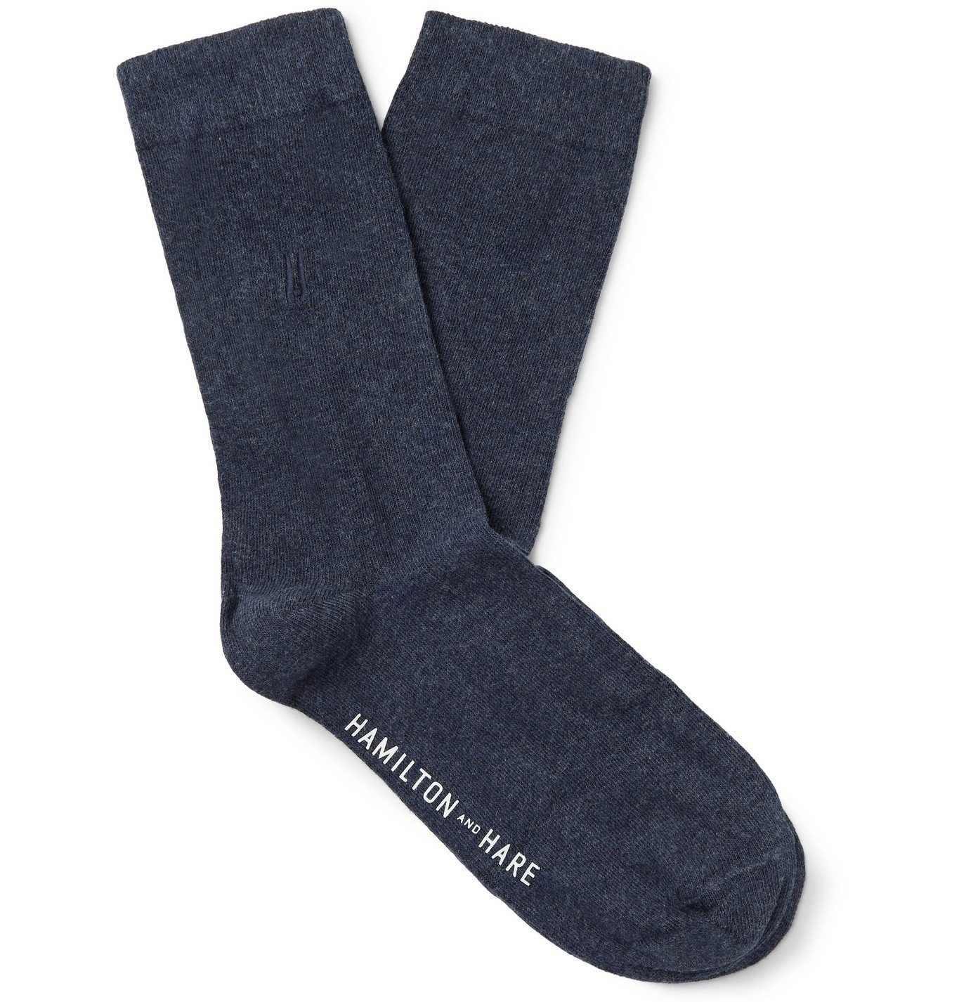 Photo: Hamilton and Hare - Everyday Logo-Embroidered Mélange Cotton Socks - Blue