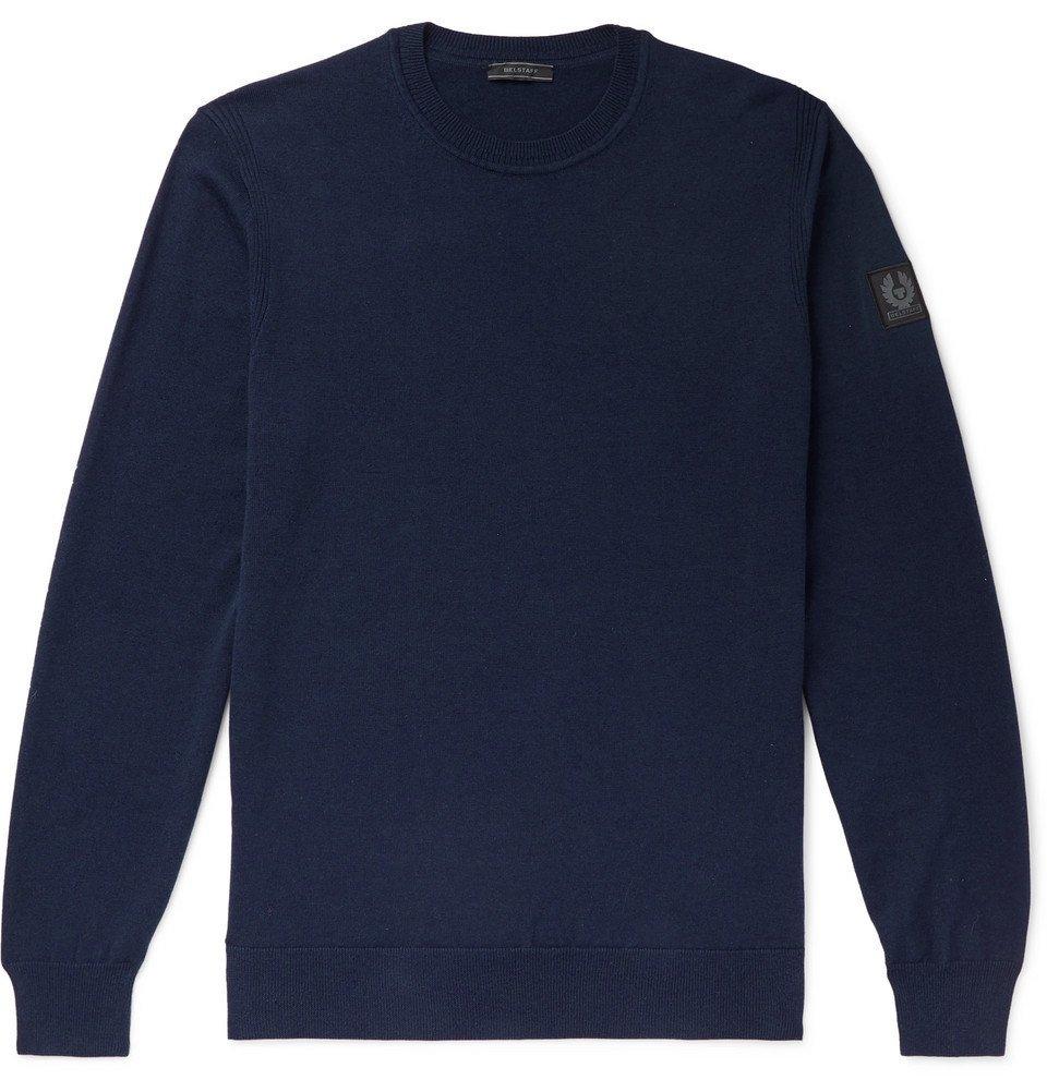 Belstaff - Moss Slim-Fit Cotton and Silk-Blend Sweater - Navy