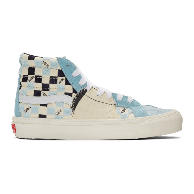 Photo: Vans Blue and Off-White Bricolage Sk8-Hi Sneakers