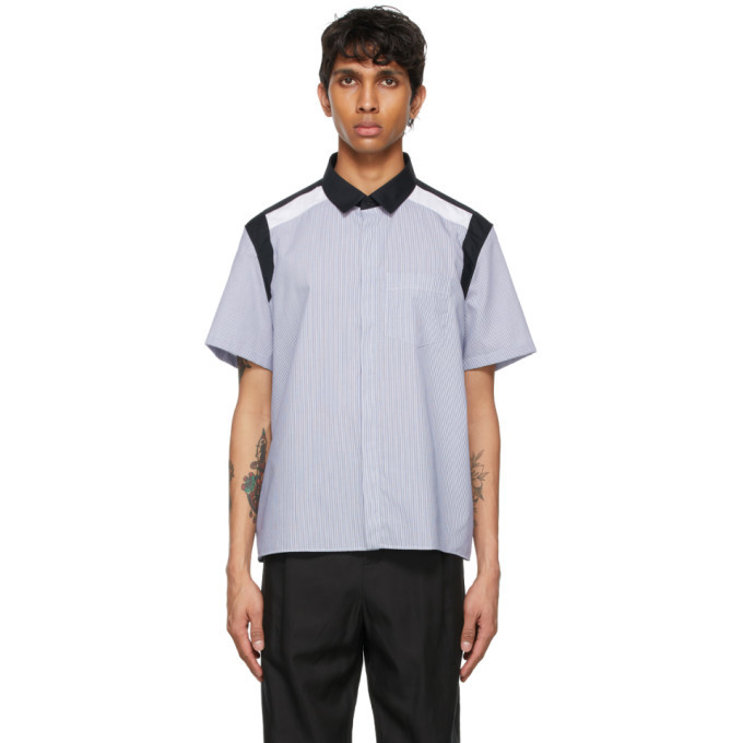 Photo: Neil Barrett Blue and White Hybrid Cotton Short Sleeve Shirt