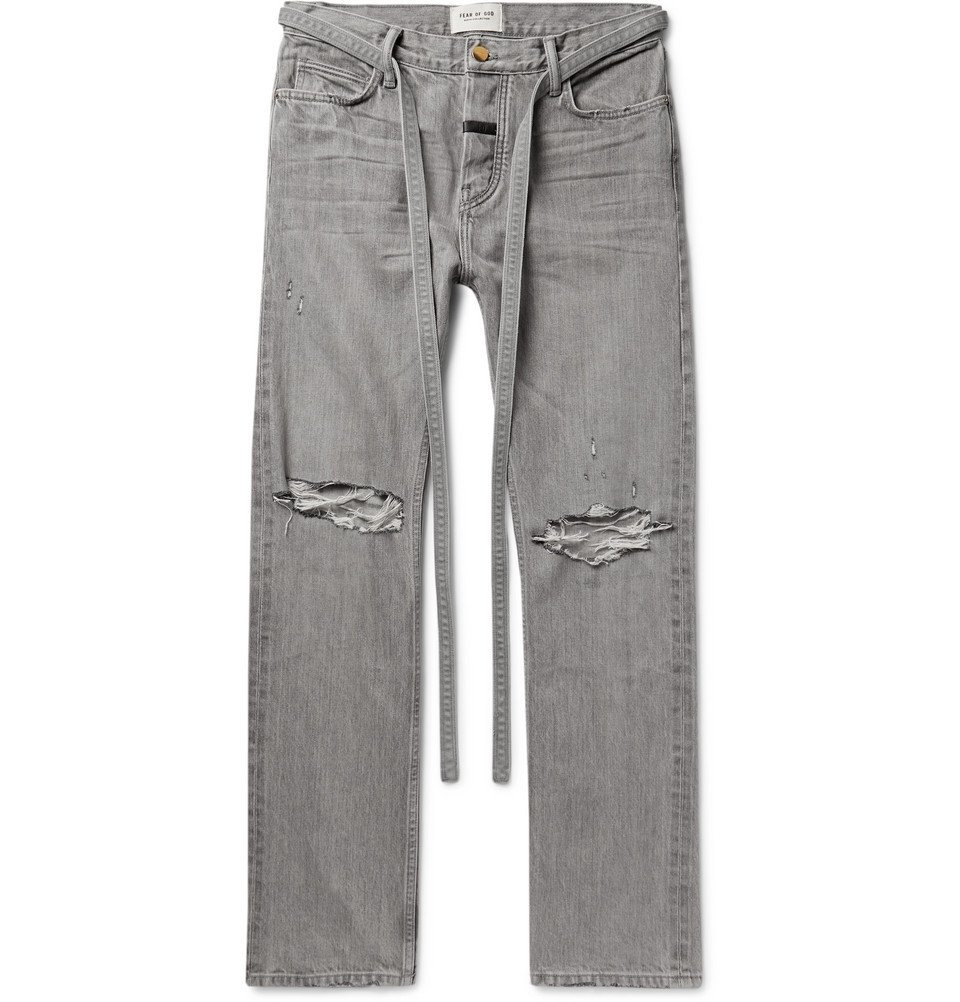 Photo: Fear of God - Belted Distressed Selvedge Denim Jeans - Gray