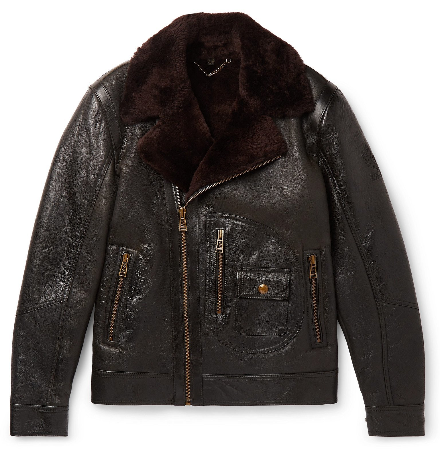 Belstaff - Danescroft Slim-Fit Shearling-Lined Leather Jacket - Black