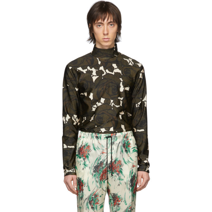 Photo: Dries Van Noten Green and Off-White Haiar Mock Neck T-Shirt