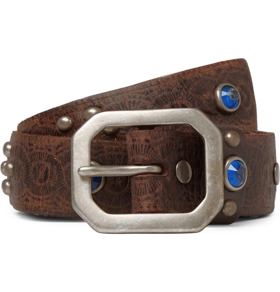 RRL - 3cm Rasco Embellished Leather Belt - Men - Dark brown